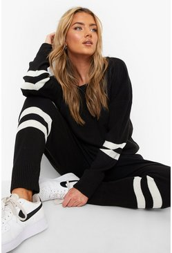 Black Stripe Knitted Lounge Set