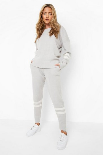 Grey Stripe Knitted Lounge Set