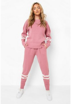 Pink Stripe Knitted Lounge Set