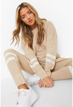 Stone Stripe Knitted Lounge Set