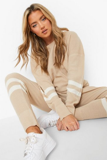Stone beige Stripe Knitted Tracksuit