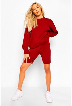 Berry Crew Neck Jumper & Shorts Set