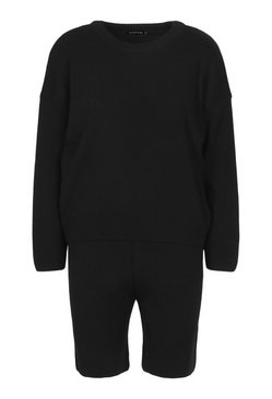 Black Crew Neck Jumper & Shorts Set
