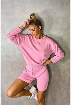 Pink Crew Neck Jumper & Shorts Set