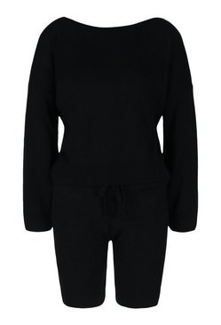 Black Slash Neck Jumper And Shorts Lounge Set