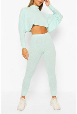 Blue Crop Batwing Hoody Knitted Lounge Set