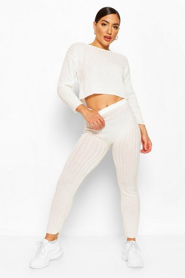 Ivory white Rib Knit Legging Lounge Set