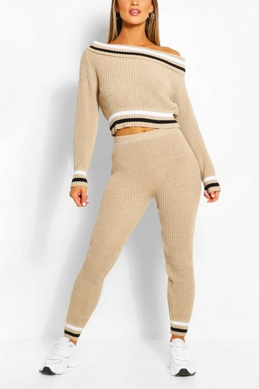 Stone beige Slash Neck Stripe Lounge Set