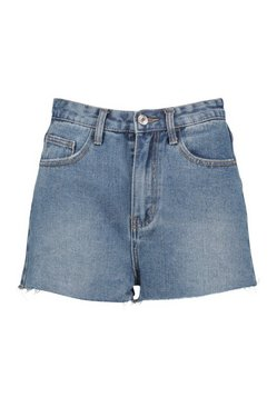 Mid blue Vintage Wash Raw Hem Denim Shorts