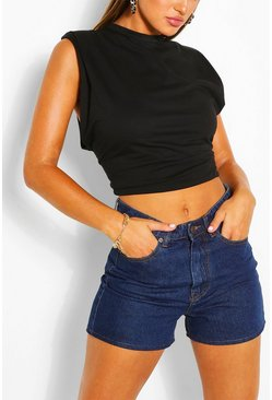 Mid blue blue Distressed Boyfriend Longline Shorts