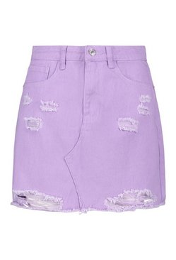 Lilac Distressed Denim Mini Skirt