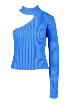 Blue Cut Out One Sleeve Jumper