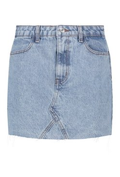 Light blue Acid Wash Denim Skirt