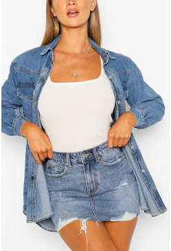 Mid blue blue Distressed Denim Skirt