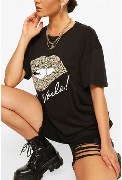 Black Voila Leopard Lips T- Shirt
