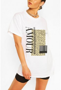 "White vit ""Amour"" T-shirt med leopardtryck"