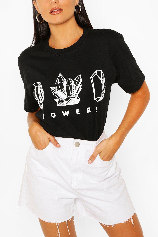 TOPS Black Crystal Print T- Shirt