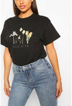 Black Stay Wild Flower Print Slogan T- Shirt
