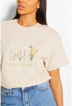 T-shirt à slogan Stay Wild Flower, Roche beige