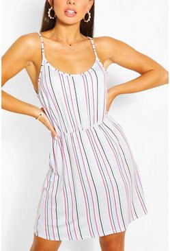 White Stripe Strappy Sundress
