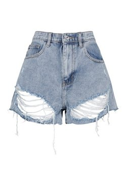 Light blue Mid Rise Distressed Denim Shorts