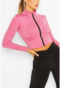 Pink Cropped Zip Up Gym Jacket