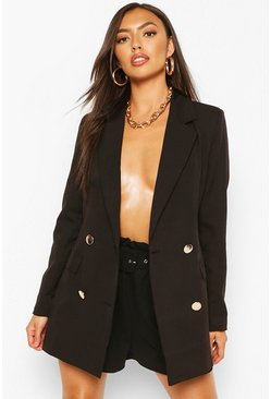 Black Double Breasted Military Blazer