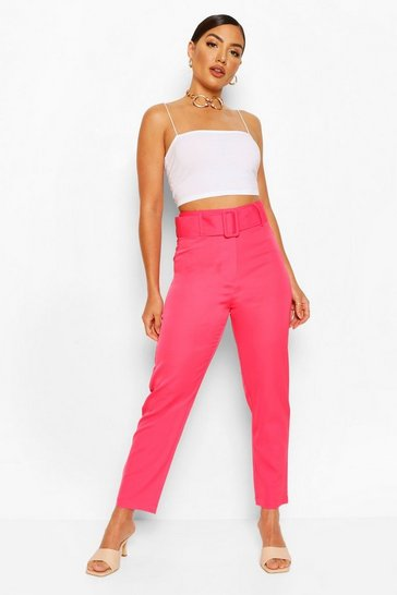 Hot pink pink Wide Buckle Belt Tailored Trouser