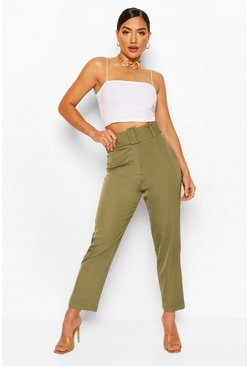 Khaki Wide Buckle Belt Tailored Trouser