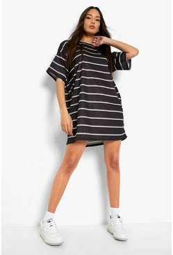 Black Stripe Oversized T-shirt Dress