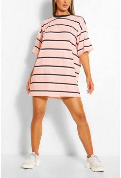 Blush pink Stripe Oversized T-shirt Dress
