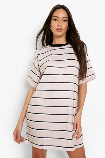 Camel beige Stripe Oversized T-shirt Dress