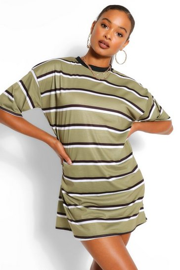 Khaki Stripe Oversized T-shirt Dress