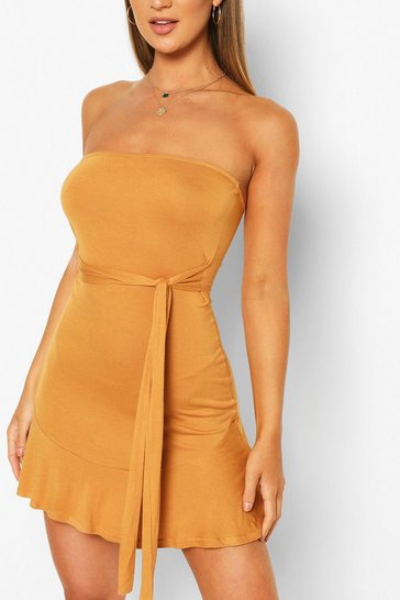 Mustard yellow Bandeau Frill Mini Dress