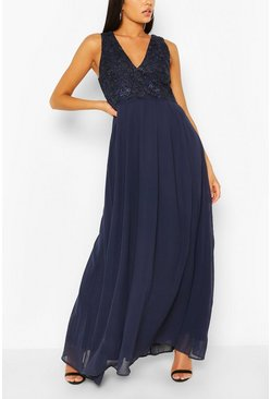 Navy V-neck Maxi Dress
