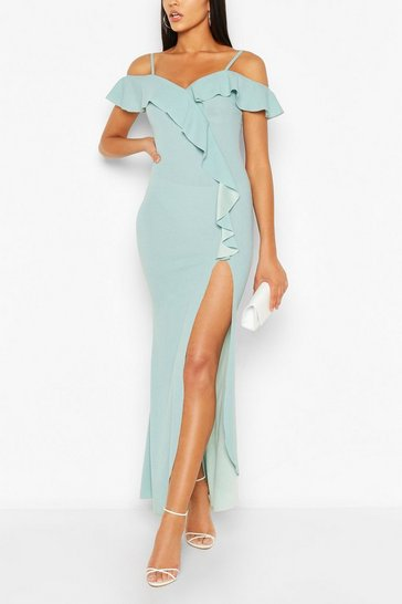 Duck egg blue Off Shoulder Maxi Dress