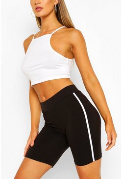 Black Basic Side Stripe Cycling Shorts