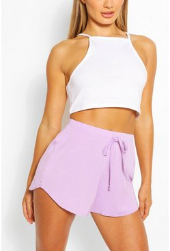 Lilac purple Basic Curved Hem Running Shorts
