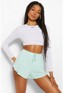 Mint green Basic Curved Hem Runner Shorts