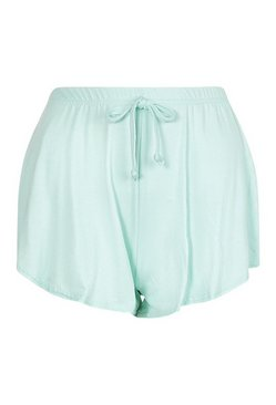 Mint Basic Curved Hem Runner Shorts