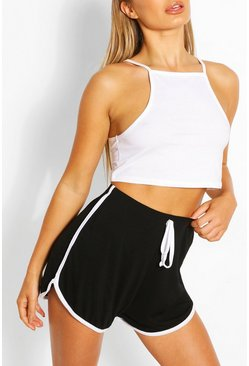 Black Basic Contrast Stripe Runner Shorts