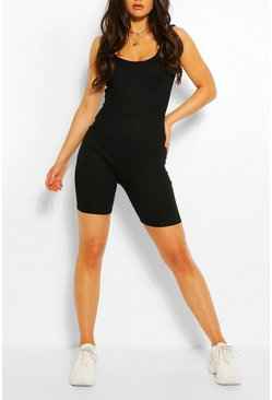 Black Basic Ribbed Strappy Unitard