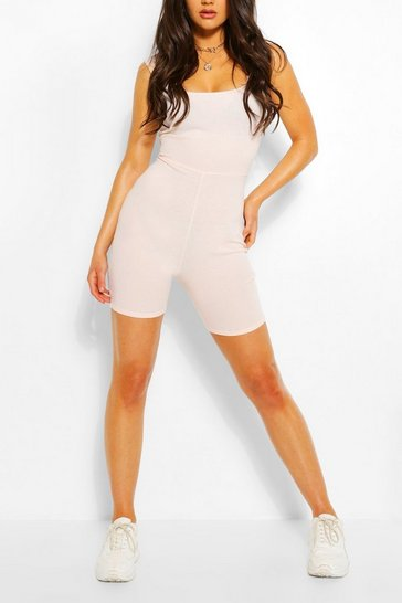 Nude Basic Ribbed Strappy Unitard