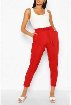 Red Relaxed Fit Casual Jogger