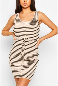 Beige Button Front Stripe Mini Dress