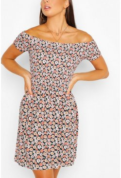 Coral pink Daisy Print Off Shoulder Sun Dress