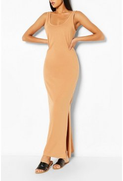 Nude Scoop Neck Maxi Dress