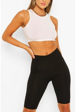 Black Basic Ribbed High Waist Cycling Shorts
