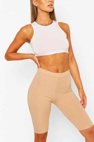 Camel beige Basic Ribbed High Waist Cycling Shorts