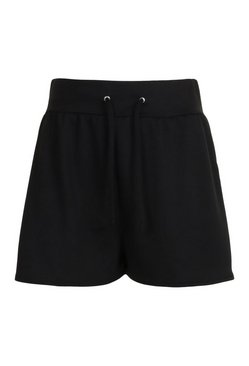 Black Loopback Casual Drawstring Sweat Shorts